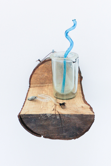 Elias Hansen,  I can't put my finger on it, 2012, found objects , glass, silicone, wood, dimensions variable