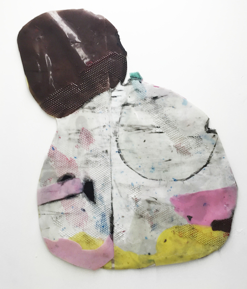 Sara Gernsbacher,  Meet midway and slice , 2015, pigmented silicone and acrylic paint on drop cloth, 41 x 31 in