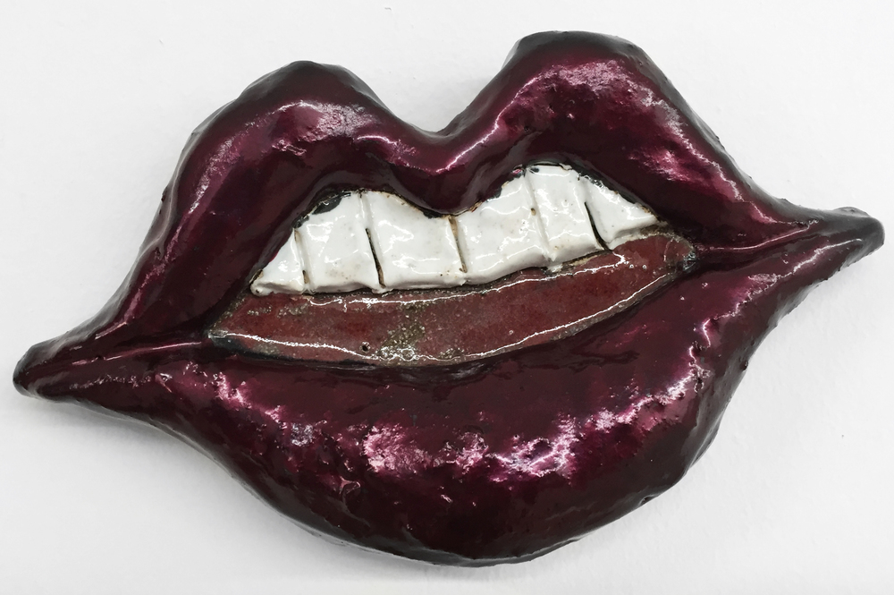 Liz Craft,  Lips , 2013, ceramic, nail polish, 5 x 9.25 x 2 in