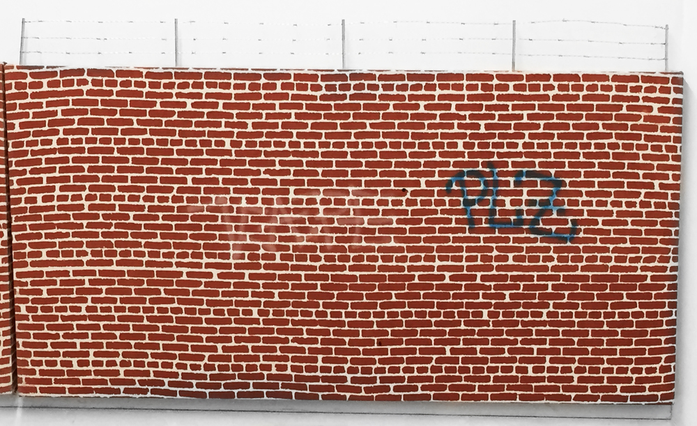 Pentti Monkkonen,  Brick Wall (PLZ) , 2014, acrylic, aluminum, steel on canvas, 26 x 44 in