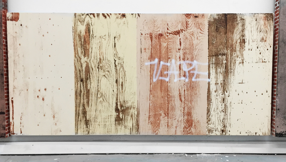 Pentti Monkkonen,  Plywood Wall (Vape) , 2014, acrylic on canvas, 20 x 43 in