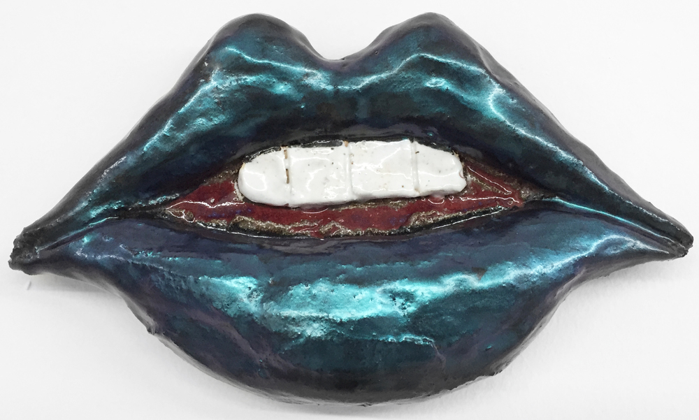 Liz Craft,  Lips , 2013, ceramic, nail polish, 5.5 x 9 x 2.25 in