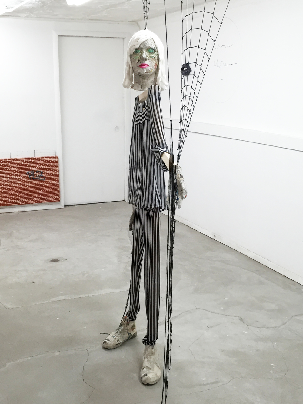 Liz Craft,  Spider Woman , 2013, paper mache, yarn, clothing, wood, dimensions variable