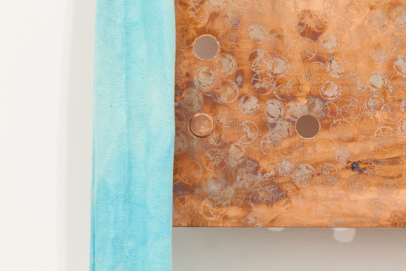 Jory Rabinovitz,  EBB1 (E)  (detail), 2014, melted pennies, pennies, Verdigris, fabric, rain water, dimensions variable