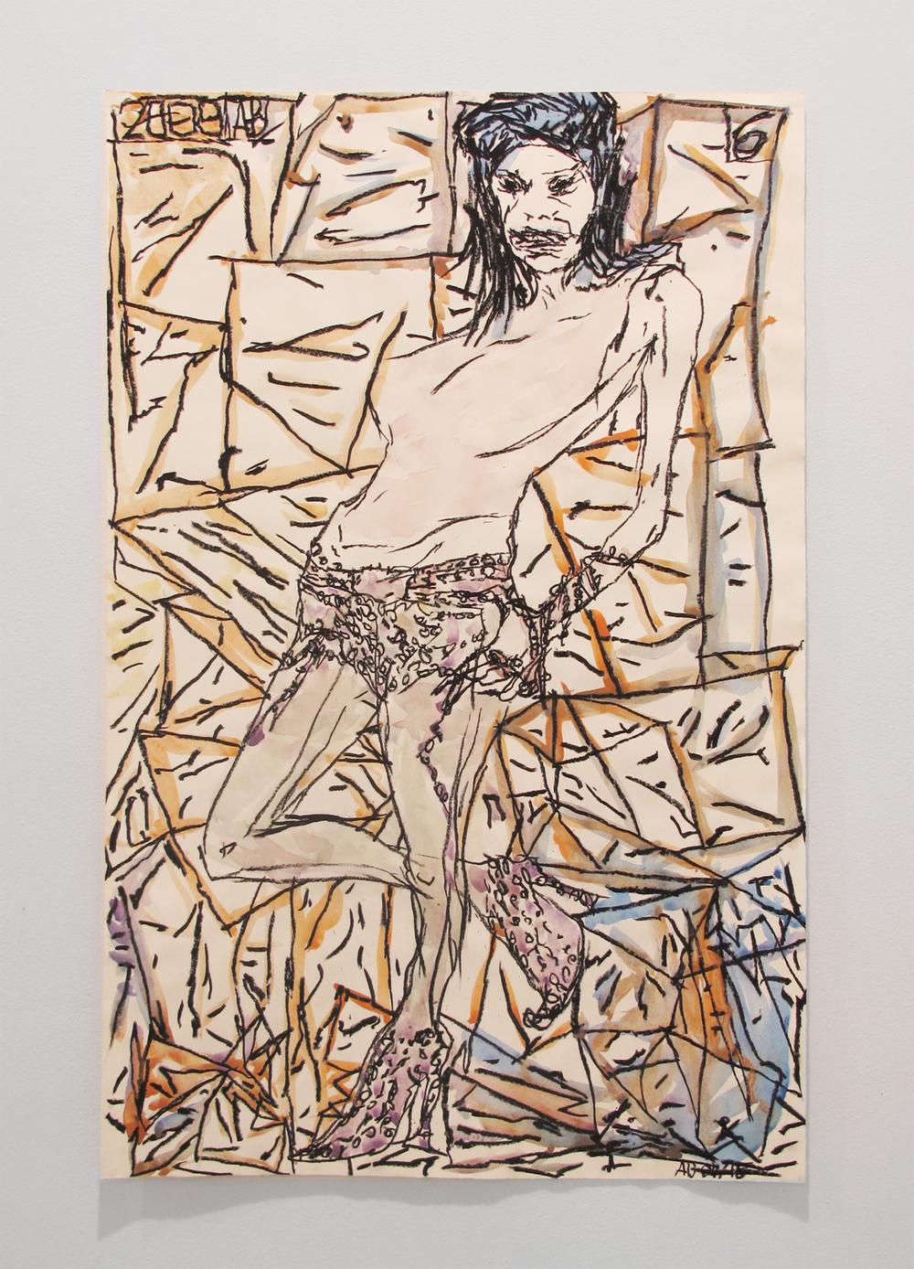 Aidas Bareikis, Solo 002 , 2009-15, paper, oil pastel, watercolor, 40 x 26 in