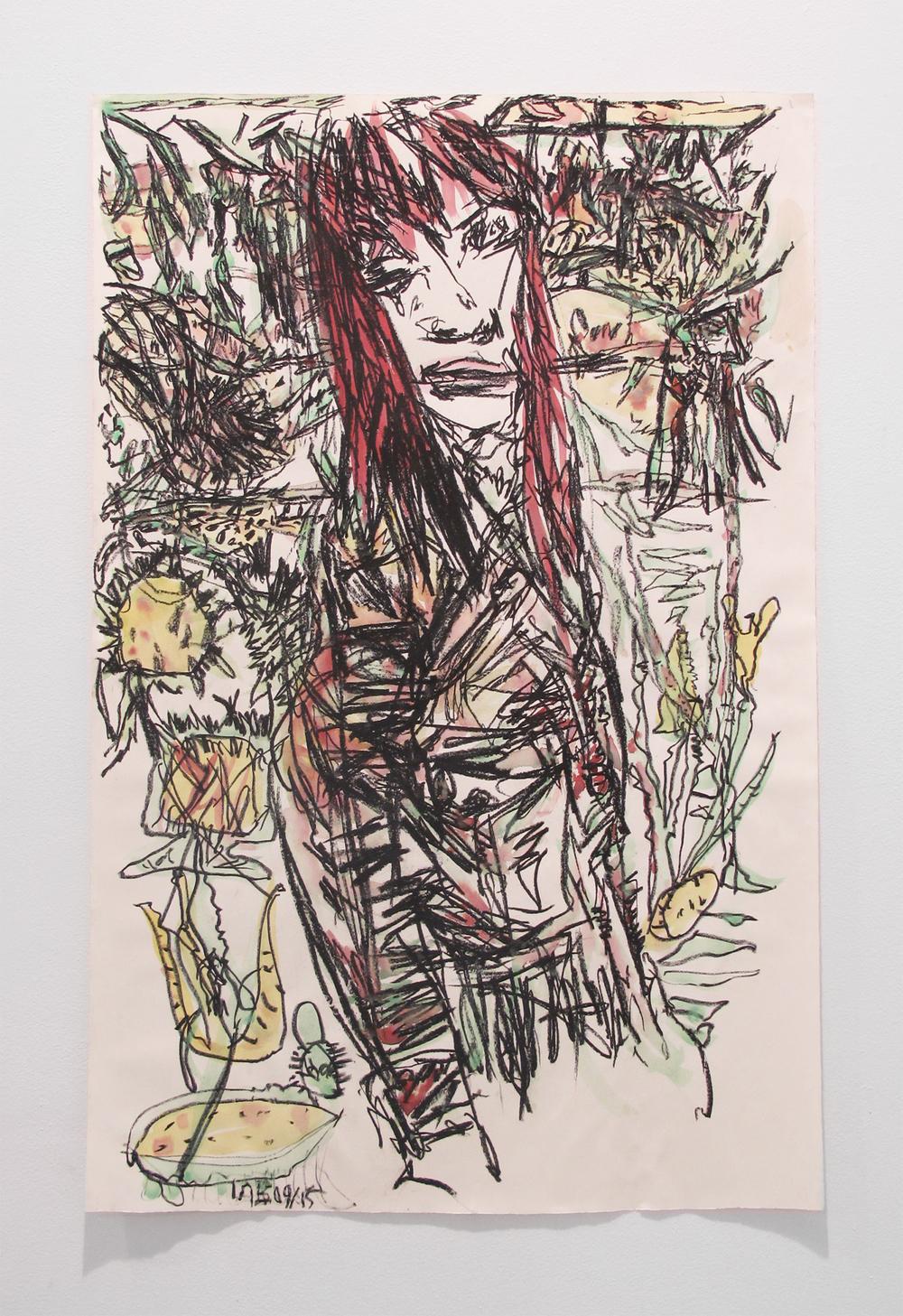 Aidas Bareikis, Solo 003 , 2009-15, paper, oil pastel, watercolor, 40 x 26 in