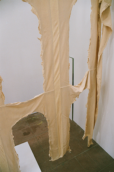 Hans-Christian Lotz,  Untitled  (detail), 2014, latex, 186 x 330 x 60 in Installation image by Jesse Stecklow