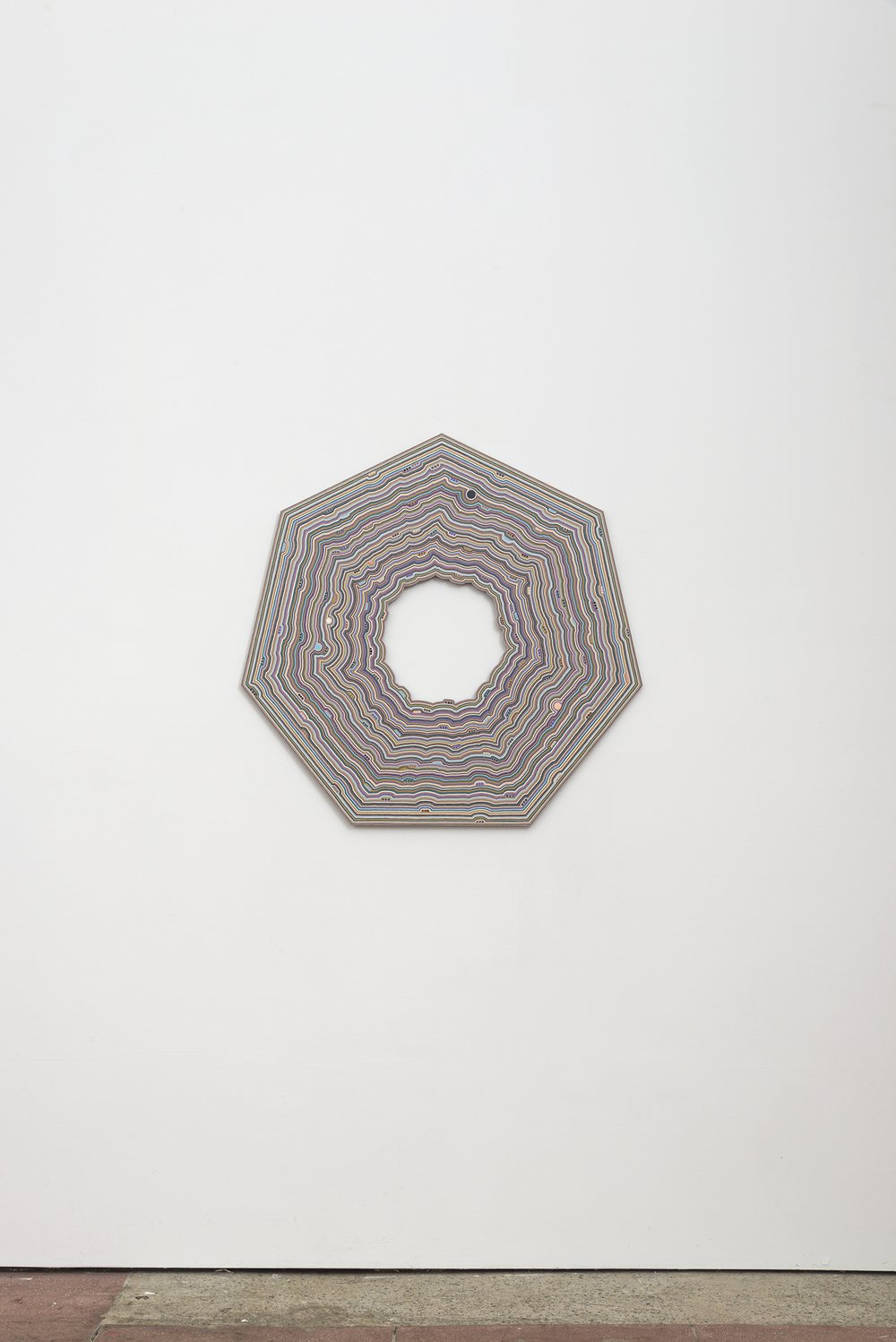 Roland Thompson,  Orbit Swarm , 2016, acrylic on aluminum, 34 x 34 in
