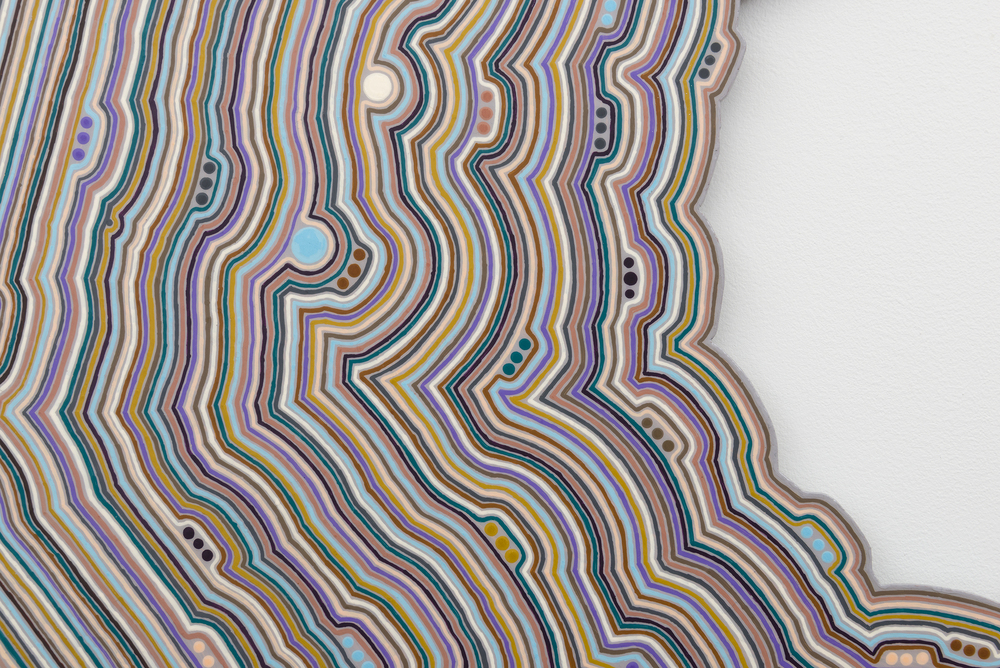 Roland Thompson,  Orbit Swarm  (detail), 2016, acrylic on aluminum, 34 x 34 in