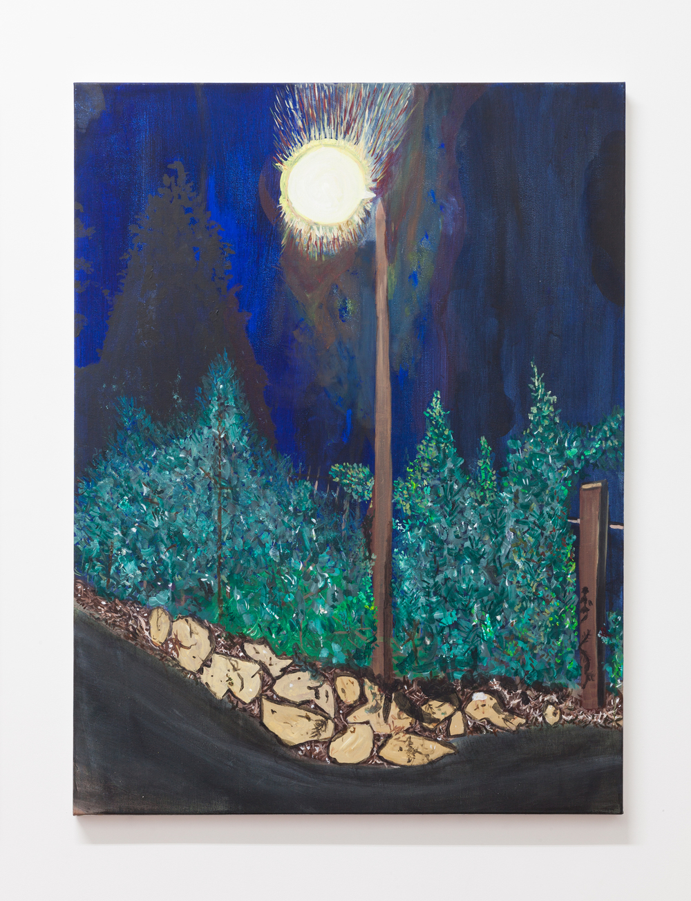 Jocko Weyland,  Path at Night , 2014, acrylic on canvas, 48 x 36 in