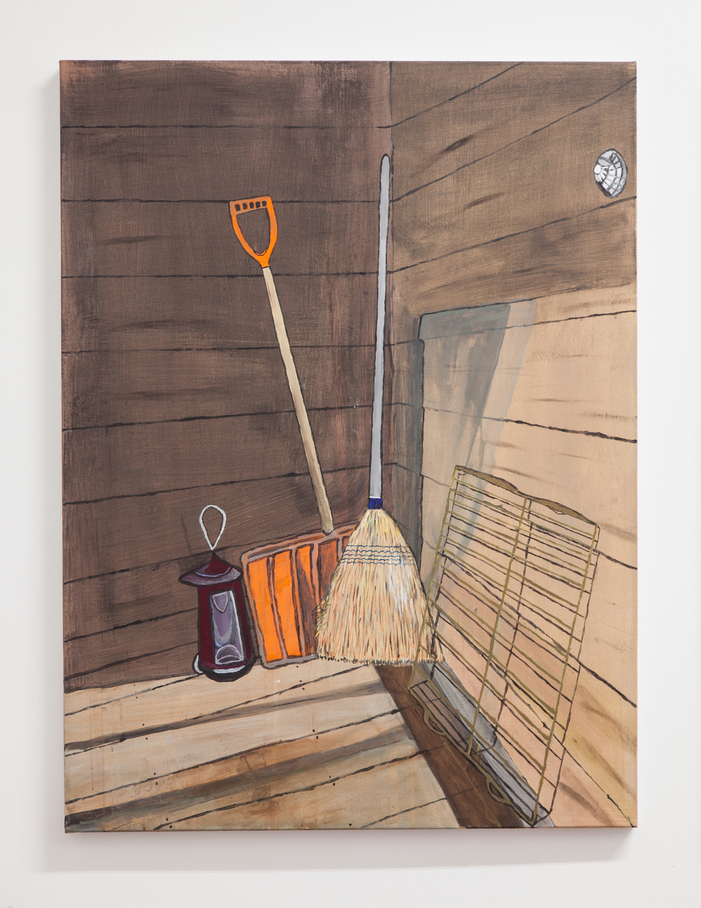 Jocko Weyland,  Shovel and Broom , 2014, acrylic on canvas, 48 x 36 in