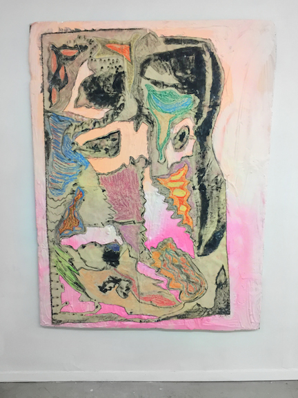 Sophie Stone,  Untitled (Pink Canvas) , 2015, oil pastel, pigment, plaster, canvas on foam board, 62.5 x 47.5 in