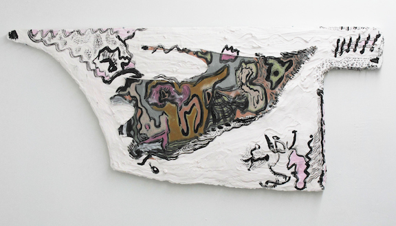 Sophie Stone,  Untitled (Leather Scrap) , 2014, leather, oil pastel, pigment, plaster on foam board, 18 x 44 inches