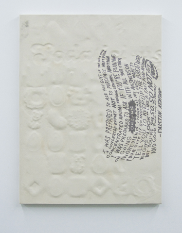 Michael Assiff,  Untitled (Testimonial, 'Sodalicious' Crush) , 2014, plastic and ink on canvas, 32 x 24 in