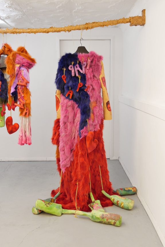 Monster Coat Club & Athena Papadopoulos,  The Gangrene Godfather , 2016, dyed fox, Mongolian, rabbit, wolf and leather, tattoo ink on leather, image transfers, nail polish, hair dye, wool, wadding, jewelry chain, thread, silk, eyelets, dimensions variable