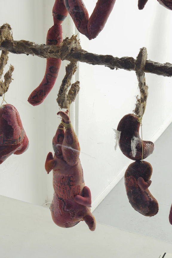 Athena Papadopoulos,  Awful Offal And Foul Fowl, Pricked, Pimped And Plumped (Racks IV & V)  (detail), 2016, Hair Dye, Nail Polish, Lipstick, Pepto Bismol, Red Wine on Padding/Wadding, Image Transfer on Fabric, Jewellery Chain, Stuffing,Pine Wood Dowels, Butcher Hooks Covered in Resin-Based Glue Mixed with Self Tanner and Synthetic Hair Clippings, Alligator Claws Coated in Resin and Nail Polish, Leather, Various Objects Encapsulated in Pigmented Polyester Resin, Waste Pipe, Wood and Screws, dimensions variable