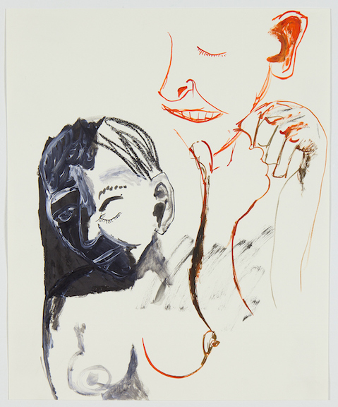 Sofi Brazzeal,  Untitled (laughing girl) , 2016, Ink and grease pencil on paper, 17 x 14 in