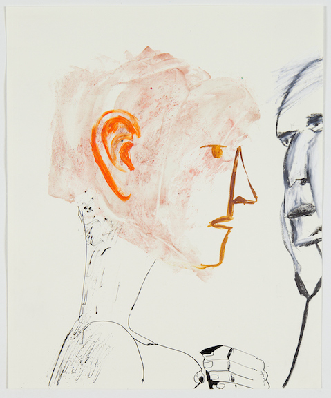 Sofi Brazzeal,  Untitled (2 figures with stethoscope) , 2016, Ink, pumice gel and oil pastel on paper, 17 x 14 in