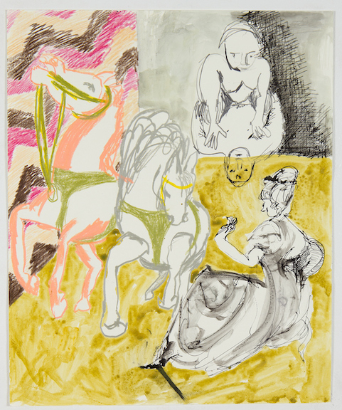 Sofi Brazzeal,  Untitled (figures with horses) , 2016, Pencil, color pencil and ink on paper, 17 x 14 in