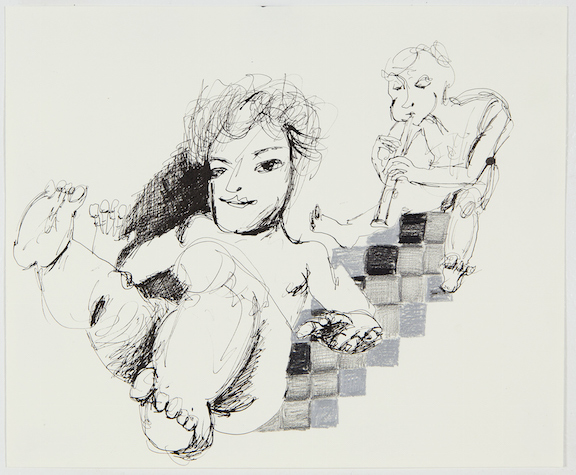 Sofi Brazzeal,  Untitled (two figures, one flute) , 2015, Pencil, ink, grease pencil and color pencil on paper, 14 x 17 in