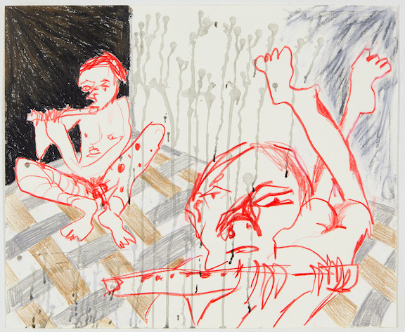 Sofi Brazzeal,  Untitled (two figures with flutes) , 2016, ink, color pencil and oil pastel on paper, 14 x 17 in