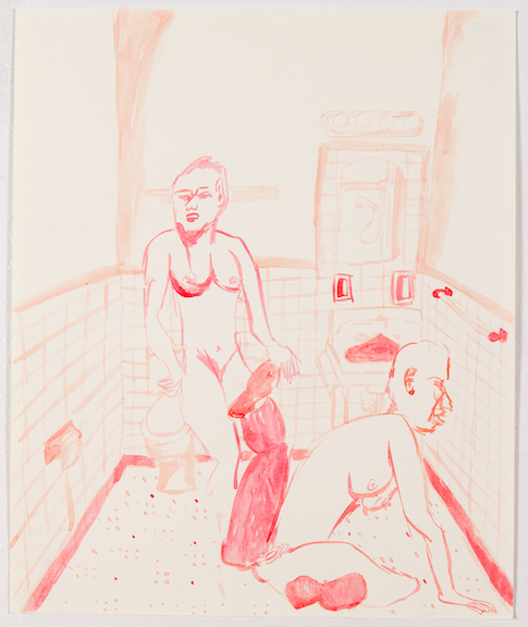 Sofi Brazzeal,  Untitled (women in bathroom 2) , 2016, Ink on paper, 17 x 14 in