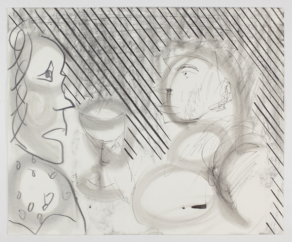 Sofi Brazzeal,  Untitled (man and woman with glass) , 2015, Pencil, color pencil and ink on paper, 14 x 17 in