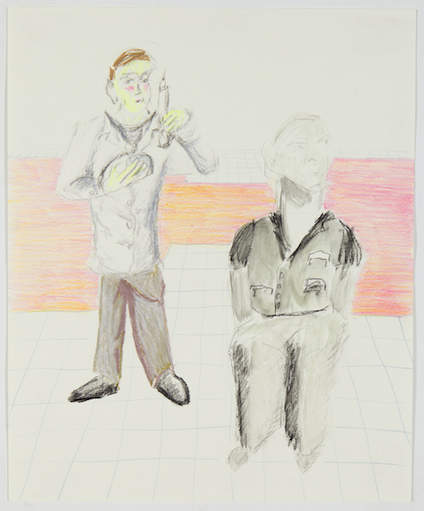 Sofi Brazzeal,  Untitled (2 men with syringe) , 2016, Pencil, color pencil and ink on paper, 17 x 14 in