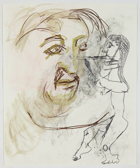 Sofi Brazzeal,  Untitled (face and flute player) , 2016, Pencil, color pencil and ink on paper, 17 x 14 in