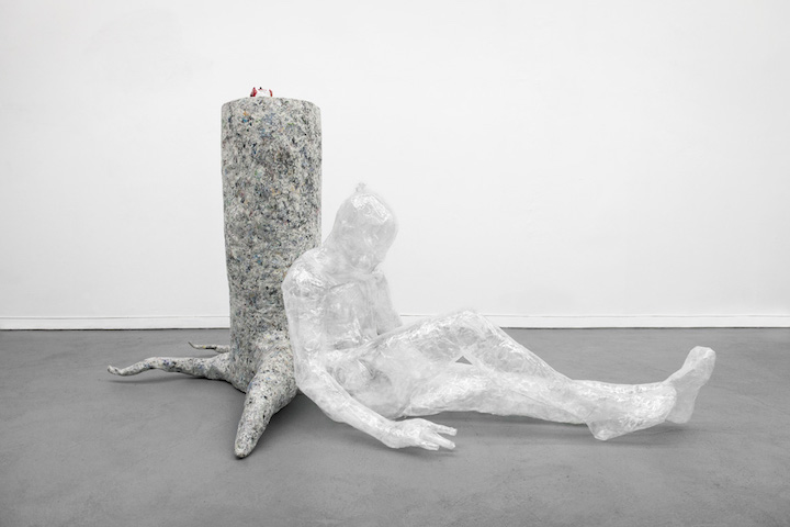 Bea Fremderman,  Evan , 2017, packaging tape, self-stick valve, newspaper, chicken wire, 35 x 64 x 43 in