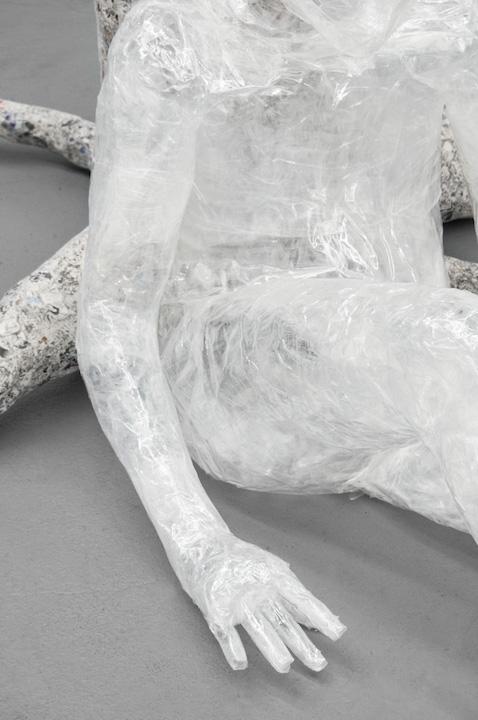 Bea Fremderman, Evan (detail),  2017,Packaging tape, self-stick valve, newspaper, chicken wire,35 x 64 x 43 in