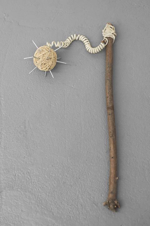 Bea Fremderman,  Weapon No. 3 (telephone cord) , 2017, telephone cord, rubber bands, nails, branch, 4 x 32 x 13 in