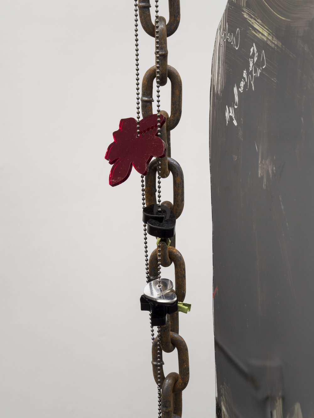 Raque Ford,  Get Double Flower Wet (detail),  2017, acrylic paint on polypropelene, steel chain, and zip ties, 86 x 39 in
