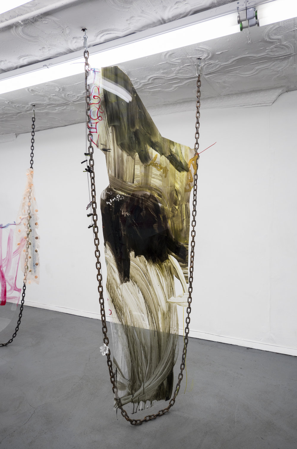 Raque Ford,  Get Double Flower Wet,  2017, acrylic paint on polypropelene, steel chain, and zip ties, 86 x 39 in