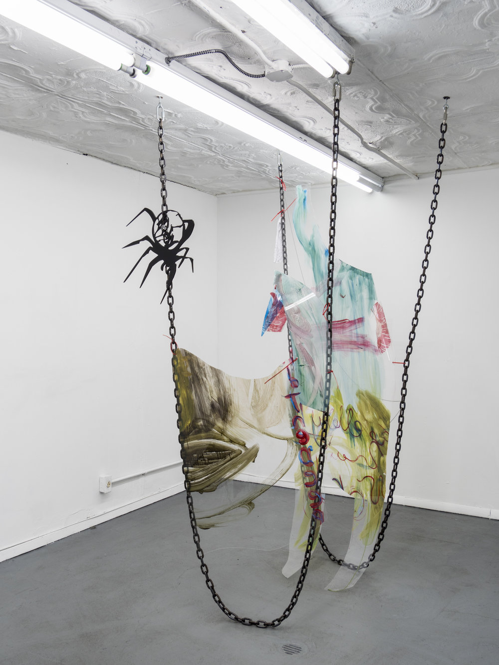 Raque Ford,  Horny Spider Butterfly,  2017, acrylic paint on polypropelene, steel chain, ball chain, butterfly bead, zip ties and acrylic, 85 x 31 in