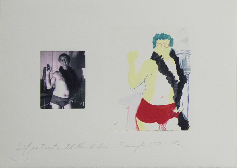Theodore Titolo,  Self Portrait with Black Boa,  1994,   transfer print, 11 x 15 in