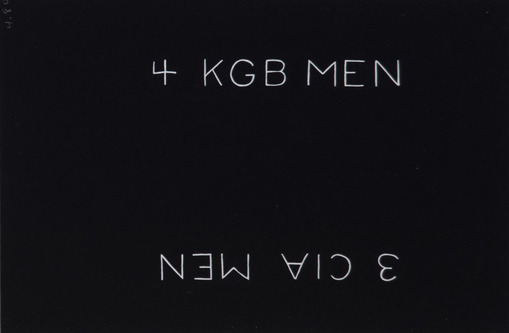 Theodore Titolo,  4 KBG Men 3 CIA Men , 1980, painting on paper, 9 x 13.5 in