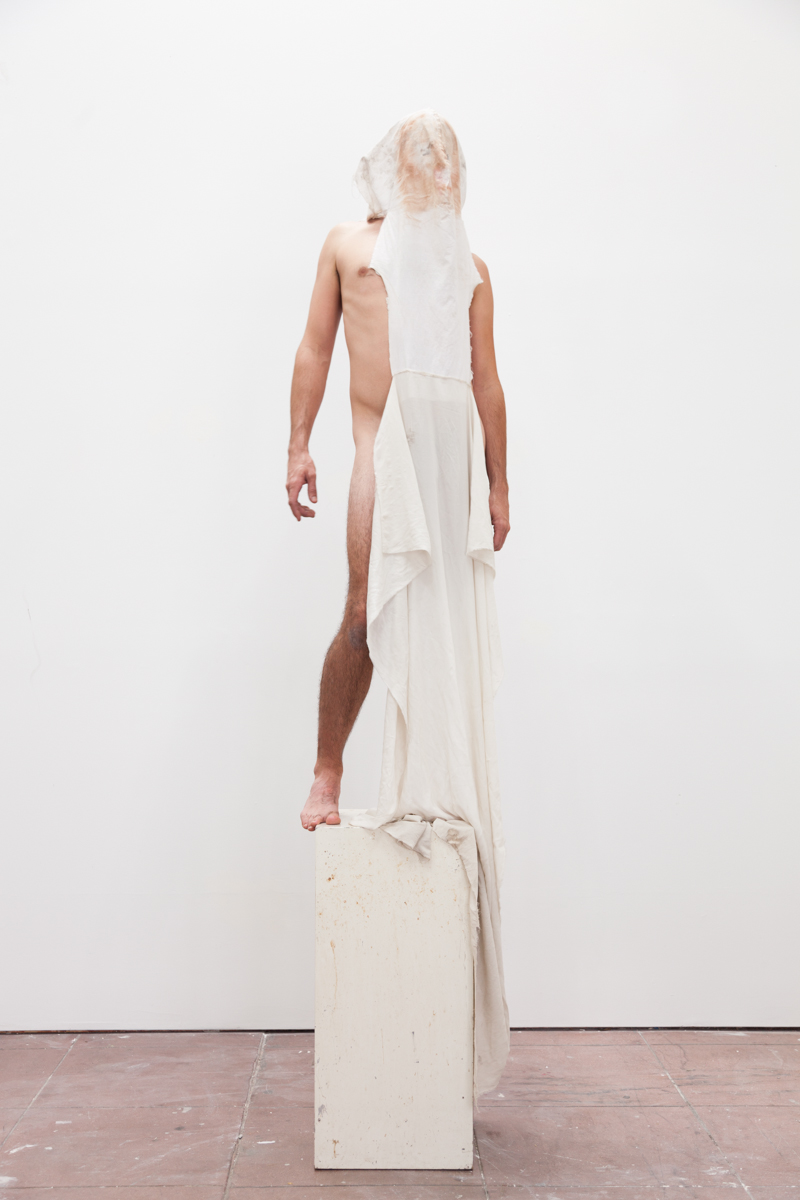 Matthew Savitsky,  Shroud (Performance Remnant) , 2017, cloth, makeup, dimensions variable