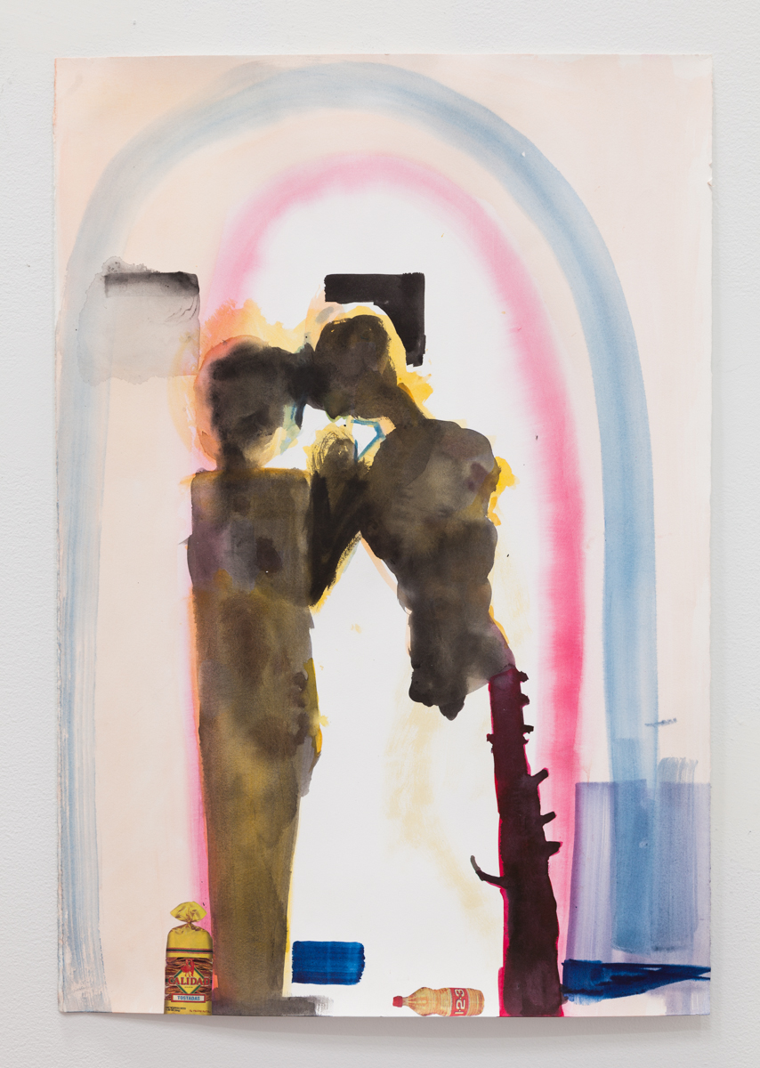 Matthew Savitsky,  Torso and Herm (Figure/Support Study) , 2017, watercolor and collage on paper, 15 × 22 in