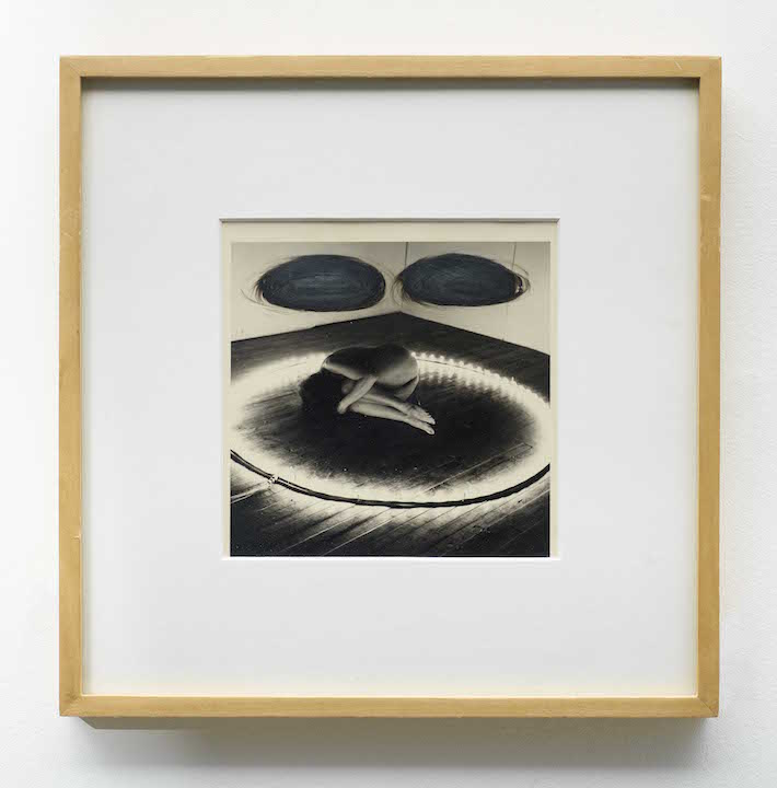 Mary Beth Edelson, Two  Black Holes , 1975, ink on silver gelatin print, 12.5 × 12.5 in