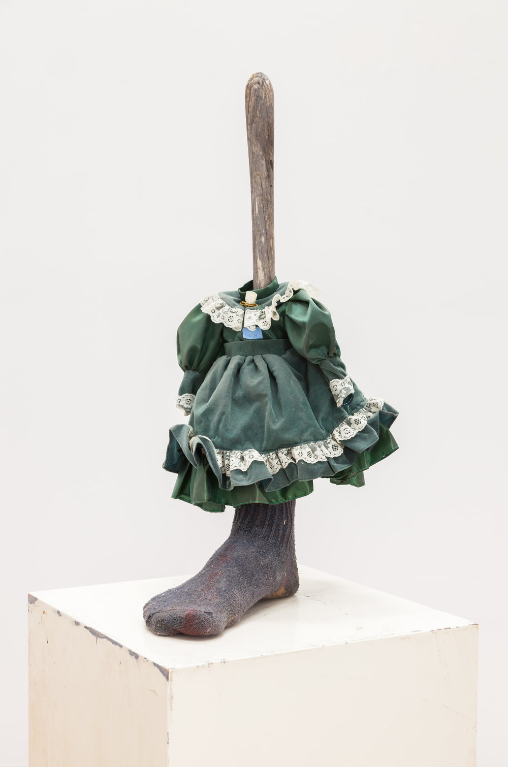 Matthew Savitsky, Angie Jennings,  Doll , 2017, plaster, sock, doll's dress, broom handle, 28 × 12 × 10 in