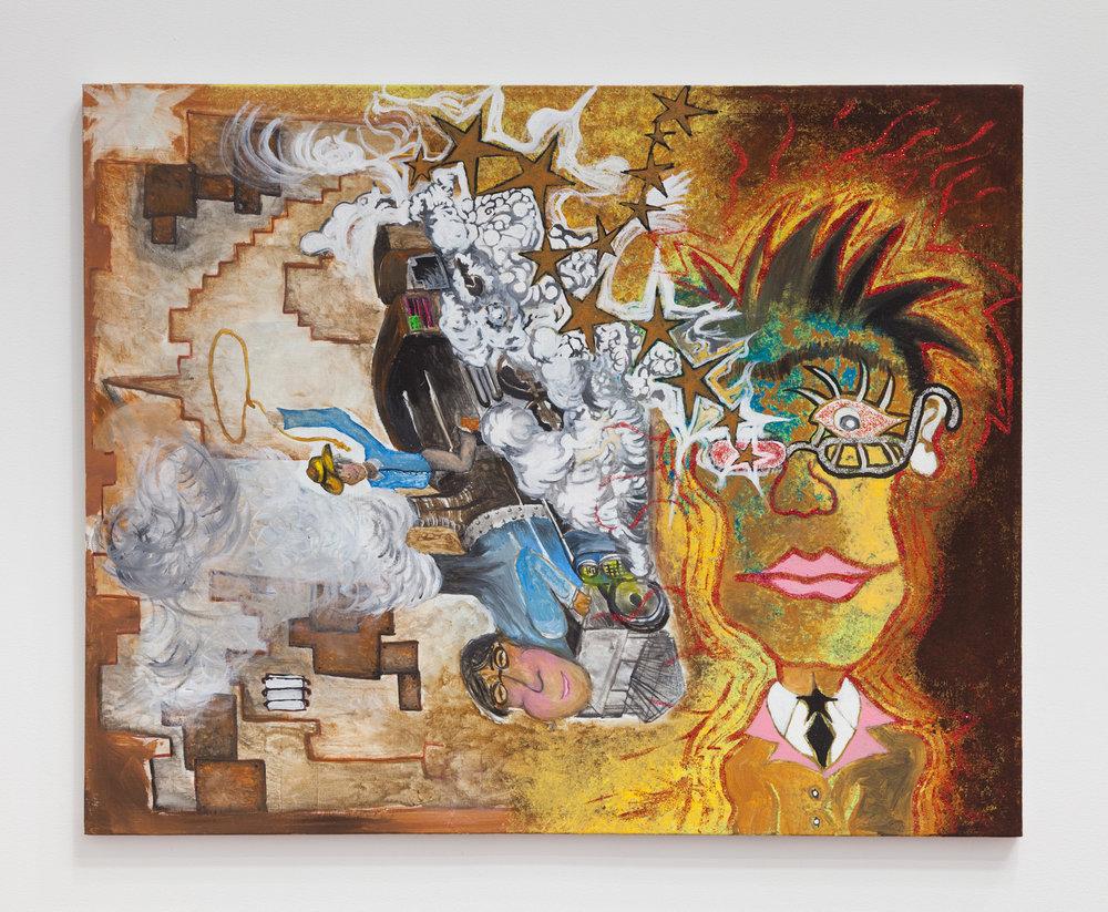 Rafael Delacruz,   Cosmic Brown Shitter Doo Doo Chaser , 2017, acrylic and glitter on canvas, 24 × 36 in