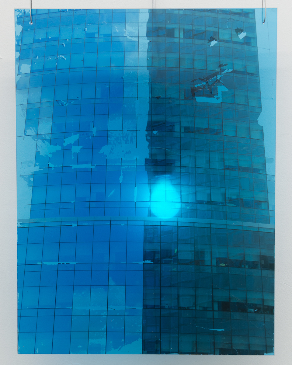 Elizabeth Karp-Evans,    Windowpane (Long Island City) , 2018, photo transfer mounted on plexiglass, colored light, steel wire, 23 × 18 in