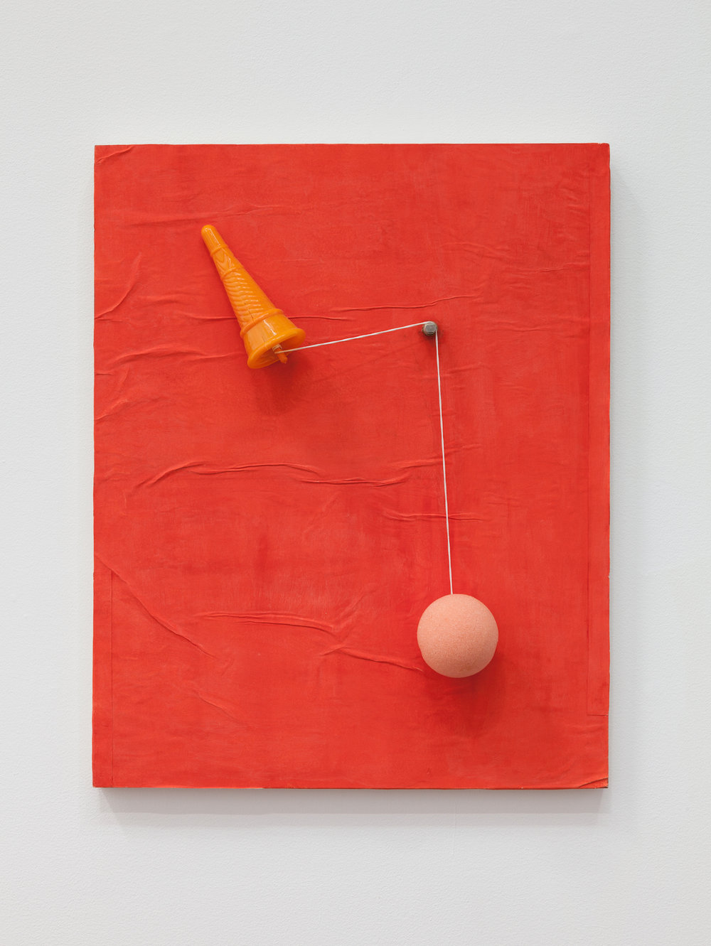 Deborah Hede,  Ice Cream Cone , 2014 - 2018, paper, watercolor, found object on panel, 20 × 16 × ¾ in