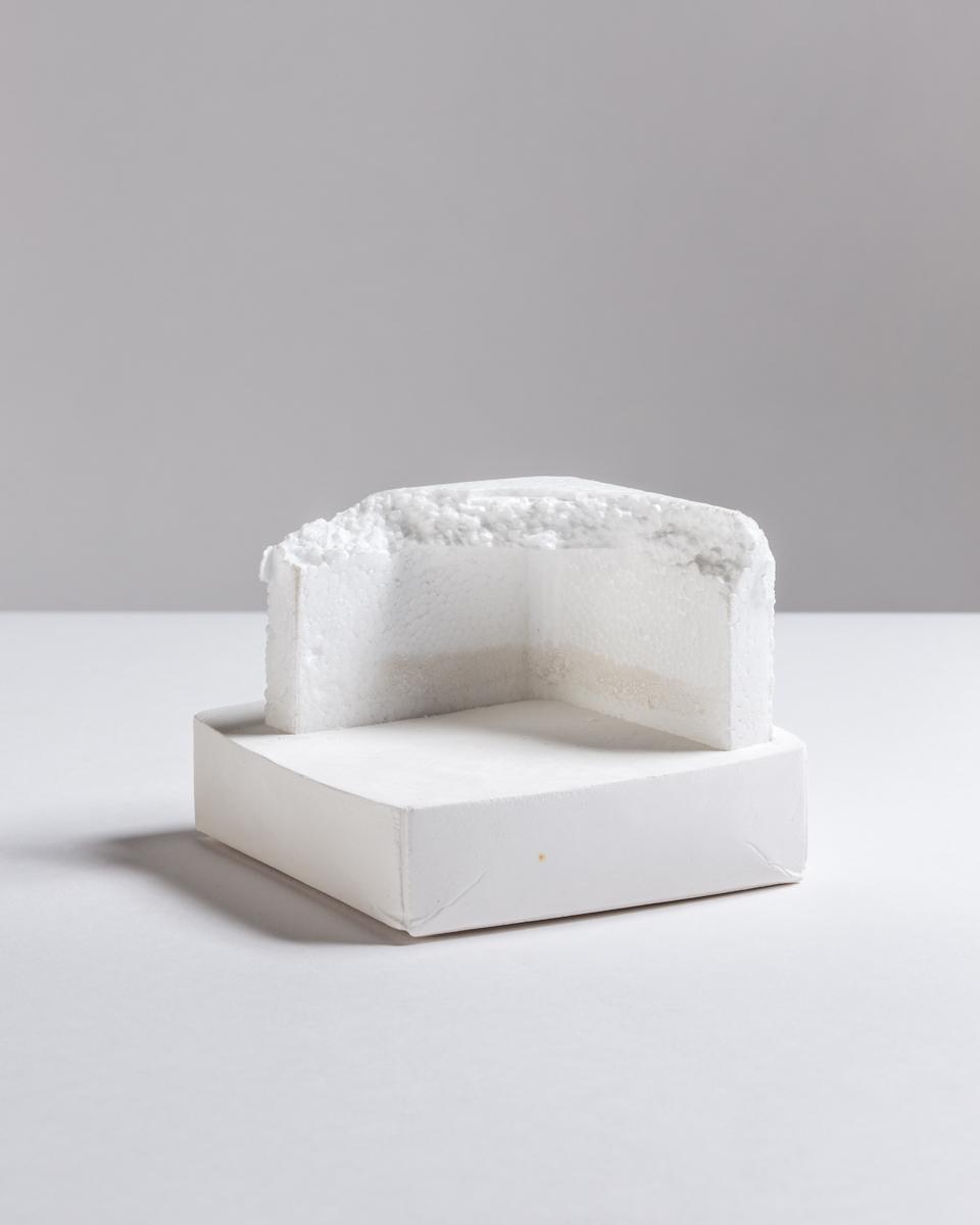 Deborah Hede,  Corner , 2014, styrofoam fragment, plaster, 3 × 4 × 4 in