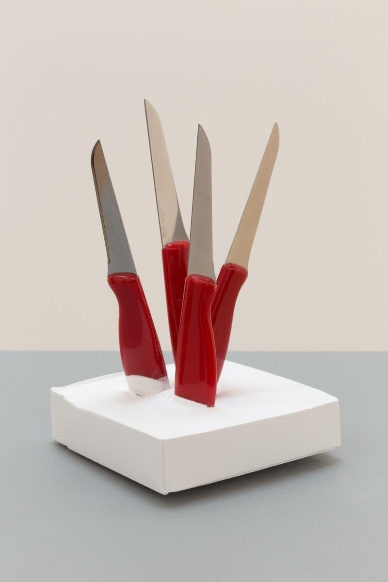 Deborah Hede,  Red Knives , 2014, four knives, plaster, 6 ½ × 4 × 4 in