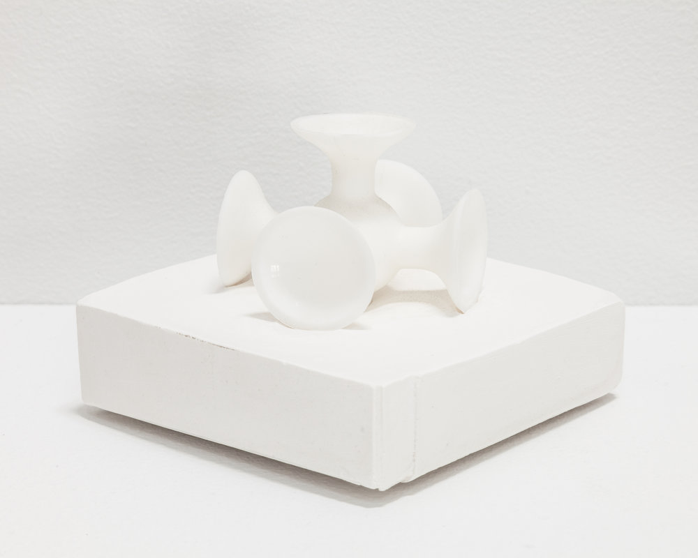 "Deborah Hede,  White Plastic Jack (""Knucklebones"") , 2014, balloon, ribbon, plaster, 5 × 4 × 4 in"