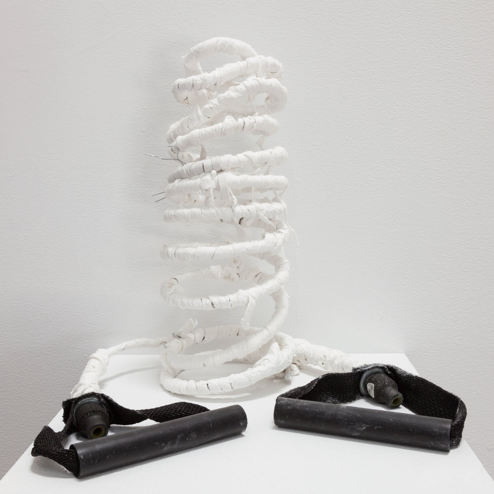 Deborah Hede,  Pulley , 2018, wire, plastic handles, cloth, plaster, 8 × 7 × 7 in