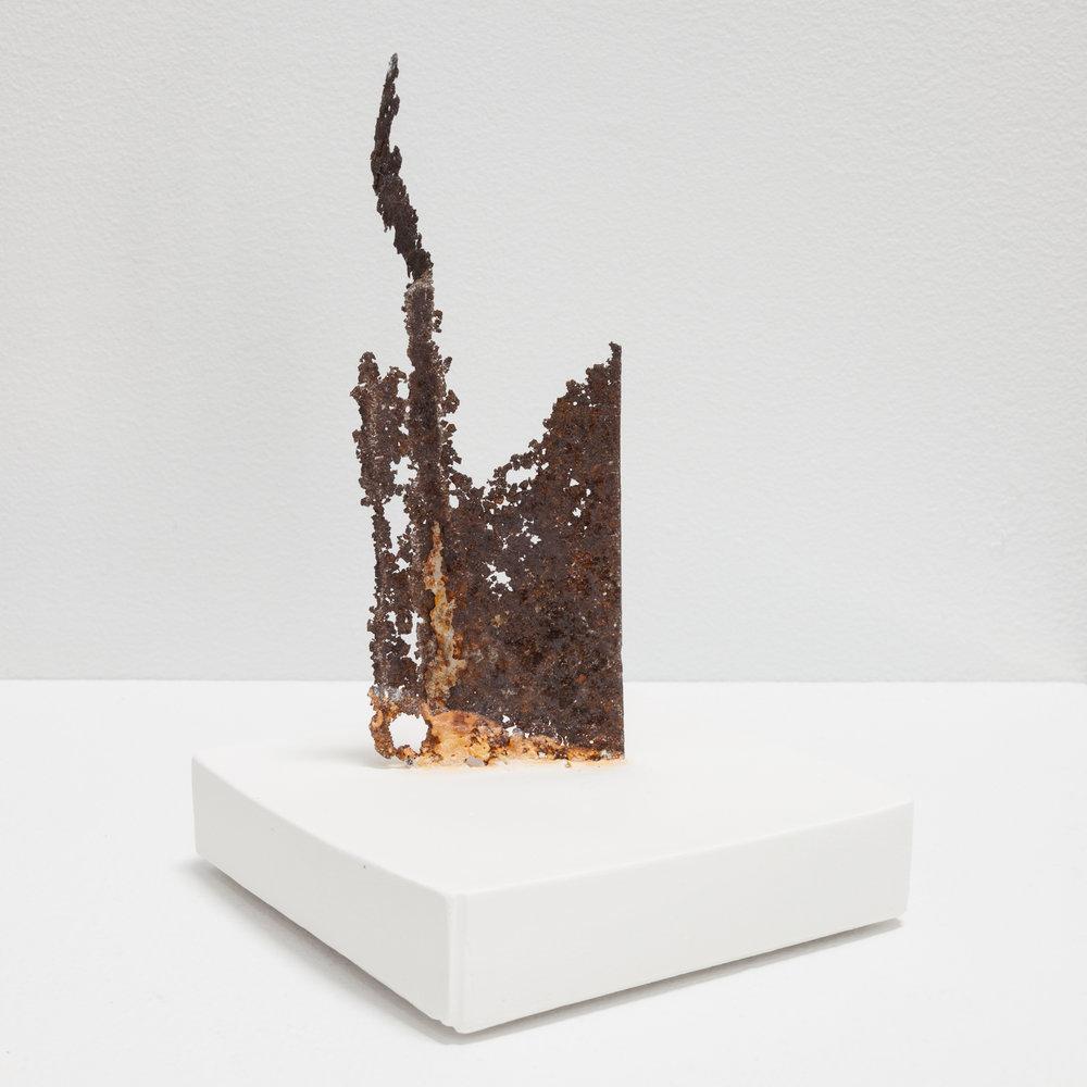 Deborah Hede,  Strips of Cut Metal , 2014, metal shards, plaster, 6 × 4 × 4 in