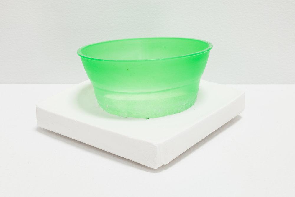 Deborah Hede,  Green cup , 2014, cup fragment, plaster, 2 ¼ × 4 × 4 in